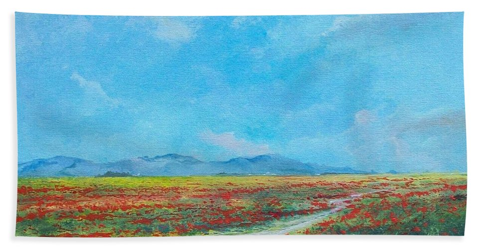 Poppy Field Bath Towel featuring the painting Poppy Field by Sinisa Saratlic