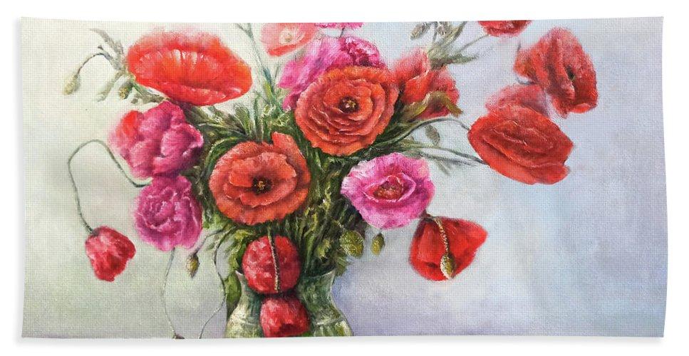 Poppy Bath Towel featuring the painting Poppy flowers by Natalja Picugina