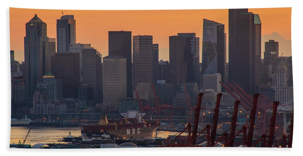 Seattle Hand Towel featuring the photograph Port Of Seattle And Downtown Sunrise by Mike Reid