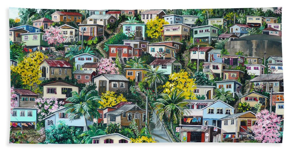 Landscape Painting Cityscape Painting Original Oil Painting  Blossoming Poui Tree Painting Lavantille Hill Trinidad And Tobago Painting Caribbean Painting Tropical Painting Bath Towel featuring the painting Poui On The Hill by Karin Dawn Kelshall- Best