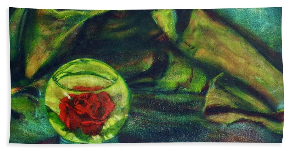 Oil Painting On Canvas Hand Towel featuring the painting Preserved Rose . . Draped Canvas by Sean Connolly
