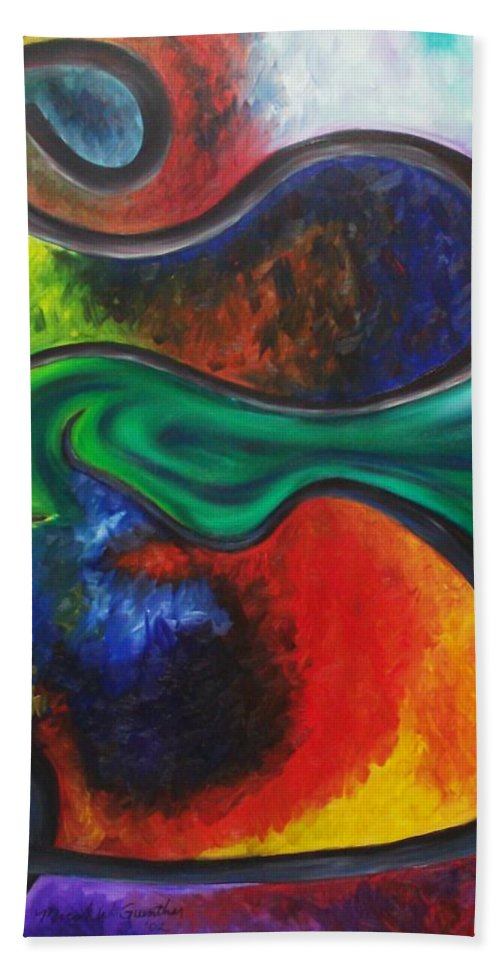 Abstract Bath Towel featuring the painting Purgatory by Micah Guenther