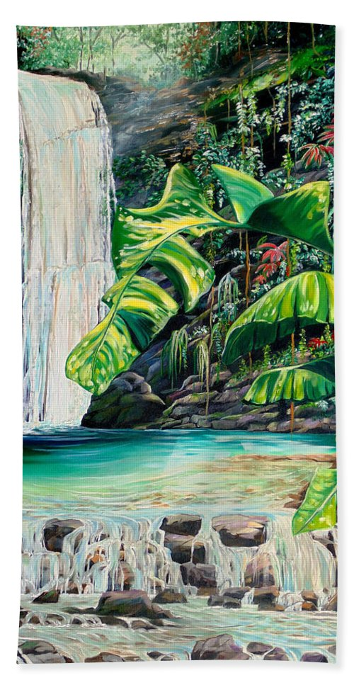 Water Fall Painting Landscape Painting Rain Forest Painting River Painting Caribbean Painting Original Oil Painting Paria Northern Mountains Of Trinidad Painting Tropical Painting Bath Sheet featuring the painting Rainforest Falls Trinidad.. by Karin Dawn Kelshall- Best
