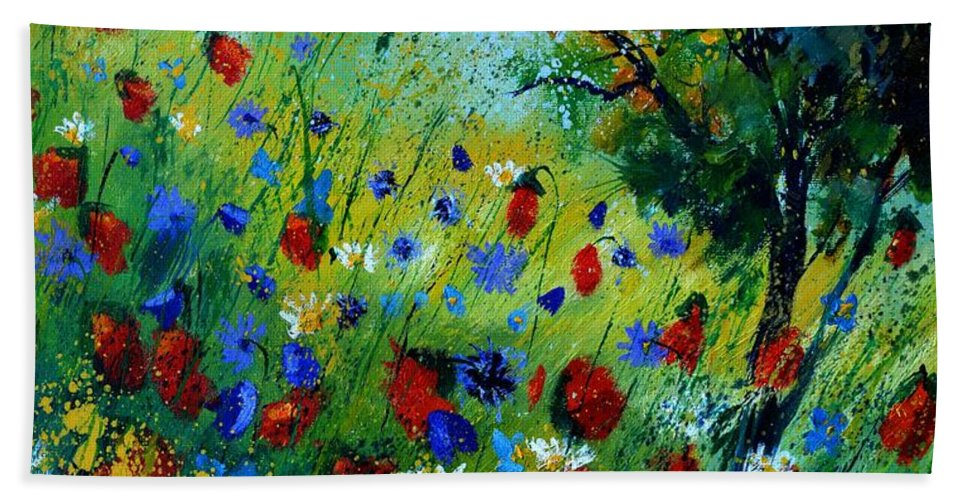 Poppies Hand Towel featuring the painting Red poppies -672020 by Pol Ledent