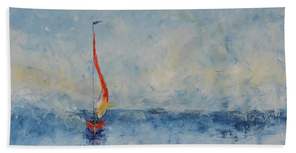 Red Sail Hand Towel featuring the painting Red Sail Blue Sky by Patricia Caldwell