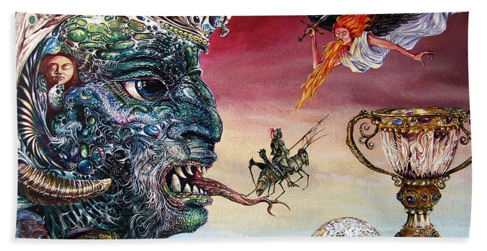 Surrealism Bath Sheet featuring the painting Revelation 20 by Otto Rapp