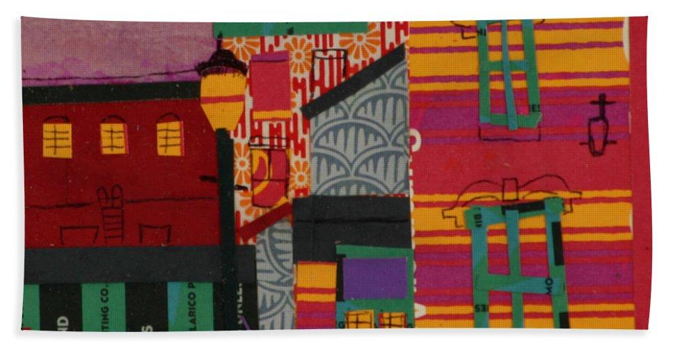 Lowell Bath Towel featuring the mixed media Revolving Museum by Debra Bretton Robinson