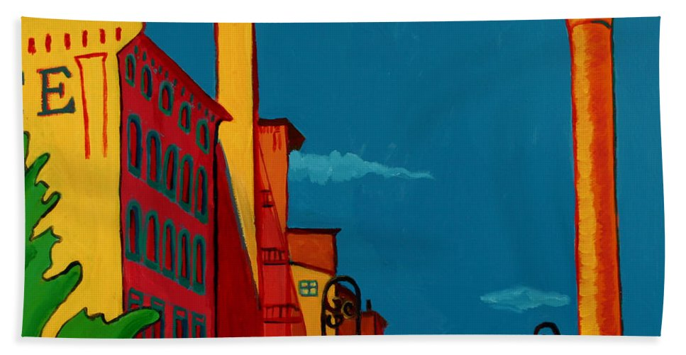 Landscape Hand Towel featuring the painting Riverwalk by Debra Bretton Robinson