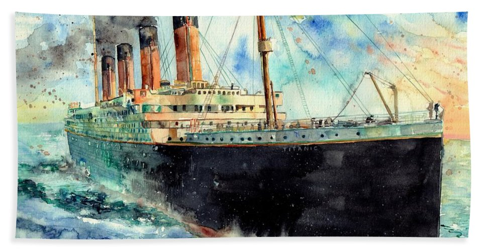Rms Titanic Bath Towel featuring the painting RMS Titanic White Star Line Ship by Suzann Sines