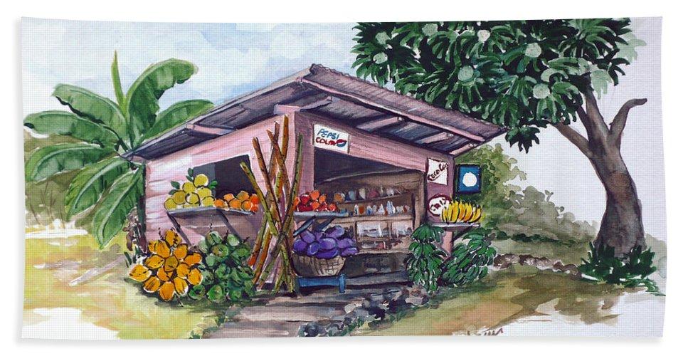Caribbean Painting Little Shop Fruit & Veg Shop Painting Caribbean Tropical Painting Greeting Card Painting Bath Sheet featuring the painting Roadside Vendor by Karin Dawn Kelshall- Best