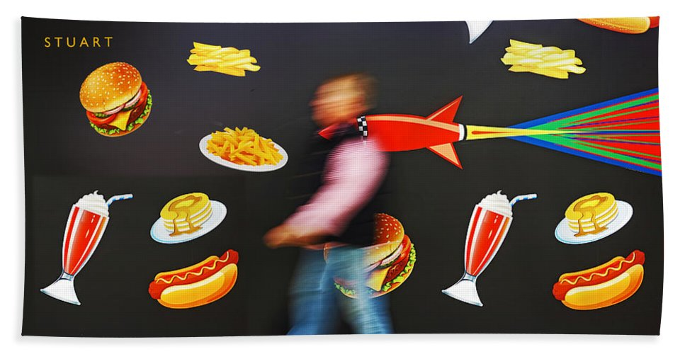 Rocket Bath Towel featuring the painting Rocket Lunch by Charles Stuart