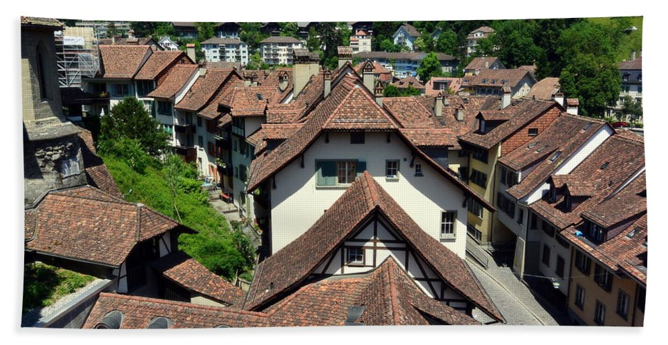 Red Rooftops Bath Towel featuring the photograph Rooftops of Medieval Bern, Switzerland by Two Small Potatoes