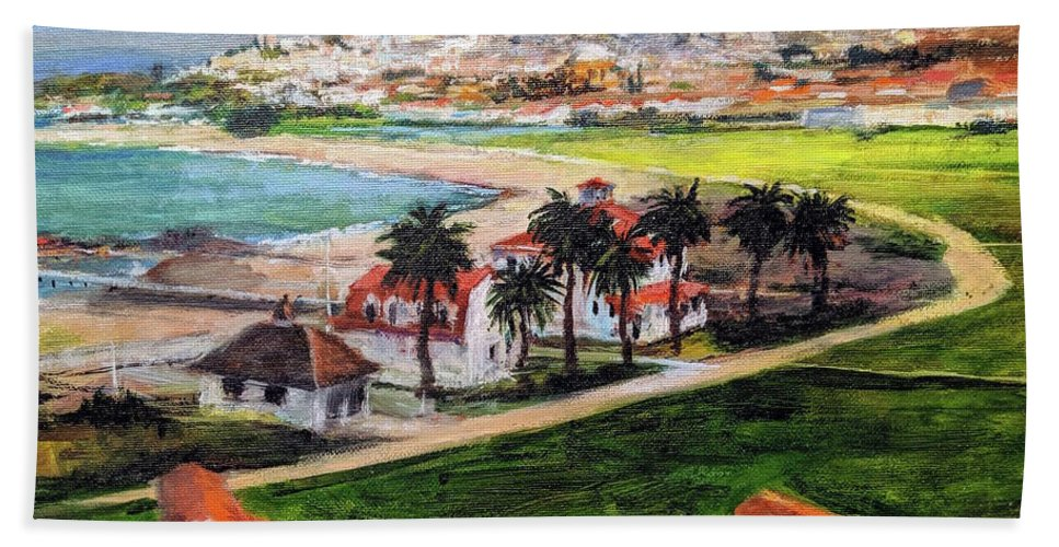 California Hand Towel featuring the painting San Francisco From Crissy Field Overlook by Peter Salwen