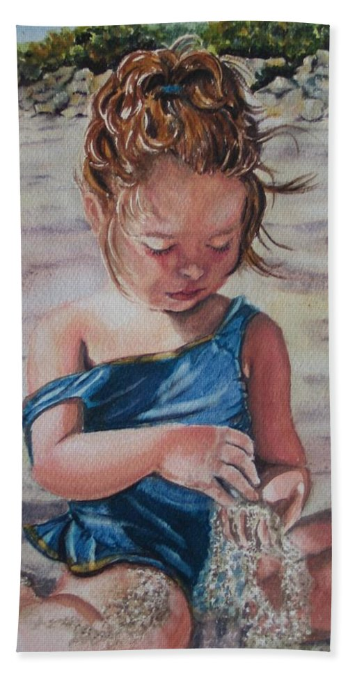 Beach Bath Towel featuring the painting Sand by Karen Ilari