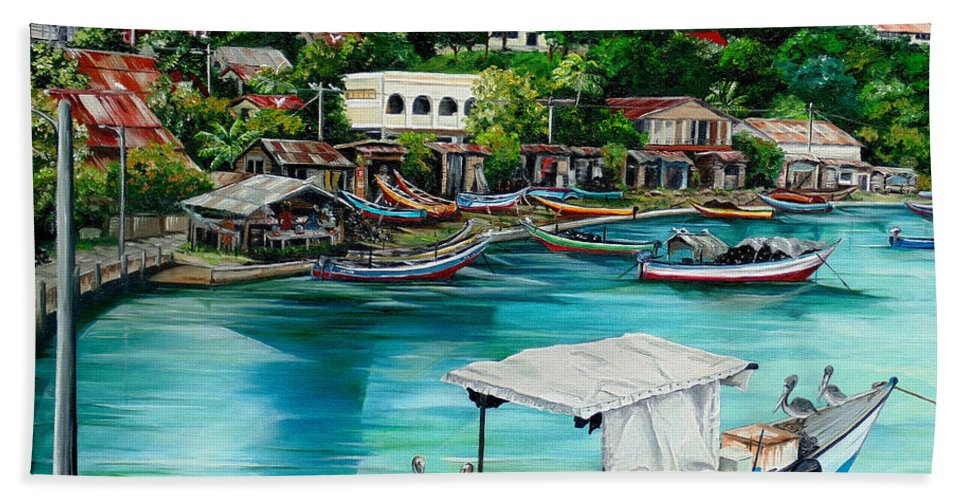 Ocean Painting Sea Scape Painting Fishing Boat Painting Fishing Village Painting Sanfernando Trinidad Painting Boats Painting Caribbean Painting Original Oil Painting Of The Main Southern Town In Trinidad  Artist Pob Hand Towel featuring the painting Sanfernando Wharf by Karin Dawn Kelshall- Best