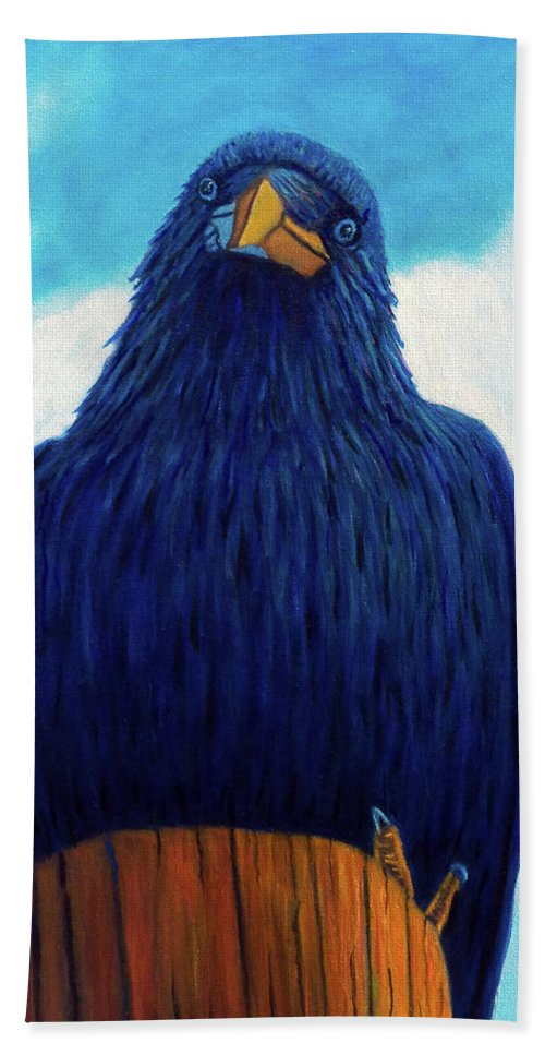 Raven Bath Sheet featuring the painting Santa Fe Smile by Brian Commerford
