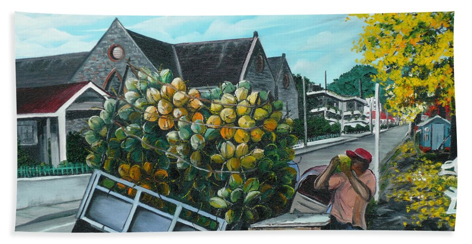 Caribbean Painting Coconuts Vendor Trinidad And Tobago Painting Savannah Paintings  Poui Tree Painting Tropical Painting Bath Sheet featuring the painting Savannah Coconut Vendor by Karin Dawn Kelshall- Best