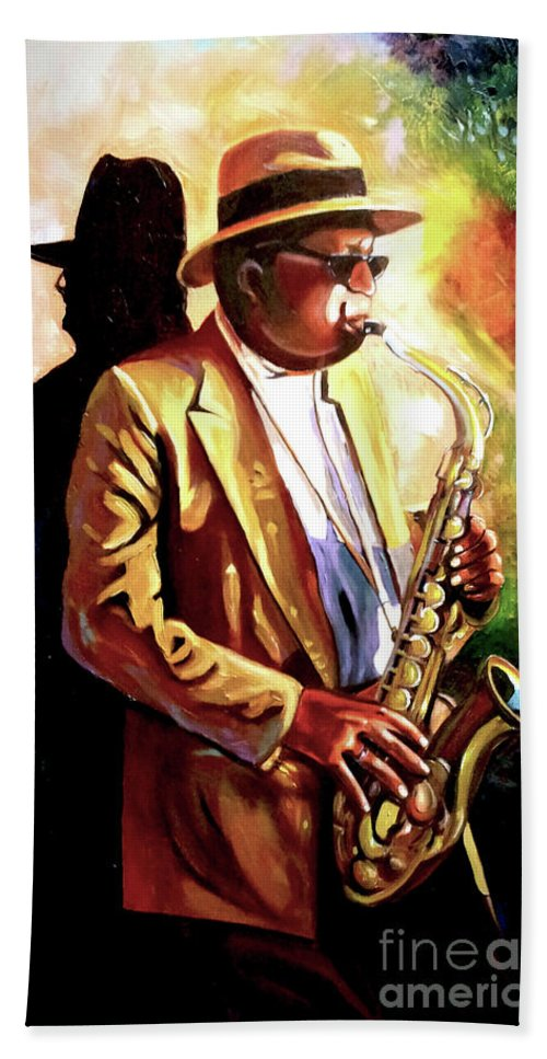 Sax Bath Towel featuring the painting Sax Player by Jose Manuel Abraham