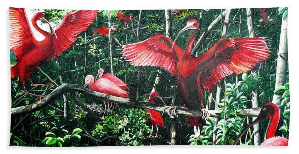 Caribbean Painting Scarlet Ibis Painting Bird Painting Coming Home To Roost Painting The Caroni Swamp In Trinidad And Tobago Greeting Card Painting Painting Tropical Painting Hand Towel featuring the painting Scarlet Ibis by Karin Dawn Kelshall- Best