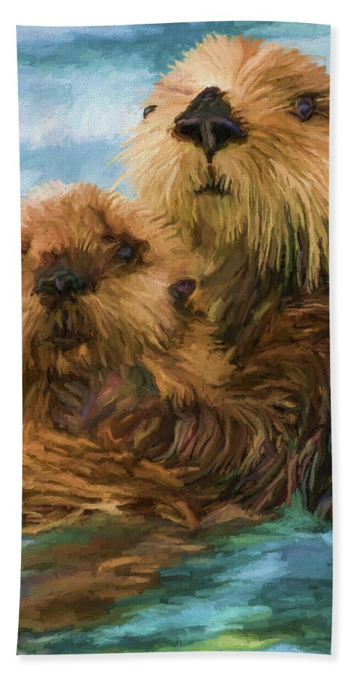Animal Hand Towel featuring the painting Sea Otter Mom and Pup by David Wagner