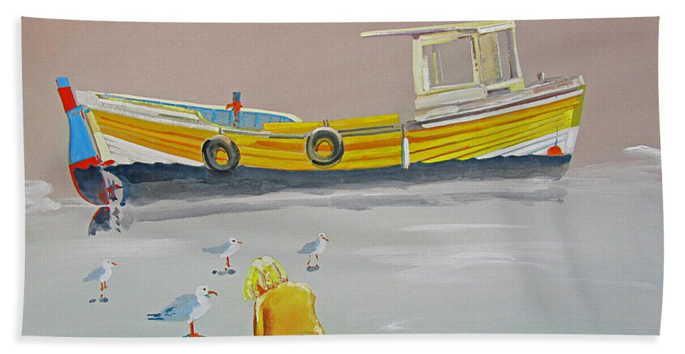 Fishing Boat Bath Towel featuring the painting Seagulls With Fishing Boat by Charles Stuart