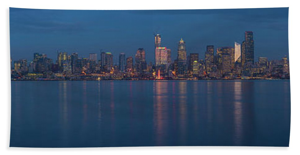 Seattle Hand Towel featuring the photograph Seattle Christmas Blue Skyline by Mike Reid