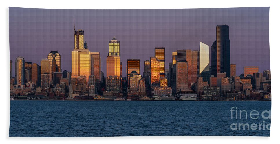Seattle Hand Towel featuring the photograph Seattle Skyline Golden Reflection by Mike Reid