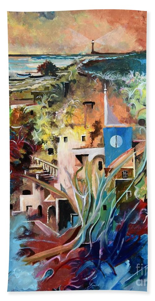 Abstract Bath Towel featuring the painting Secret Cove by Sinisa Saratlic