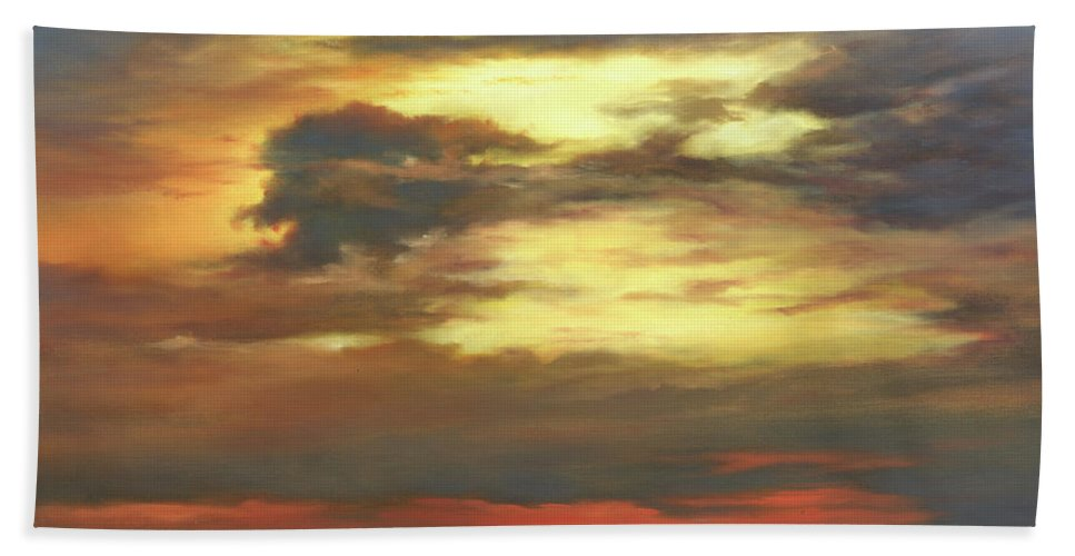 Red Glow Hand Towel featuring the painting Shadow of the Wind by Cheryl Kline