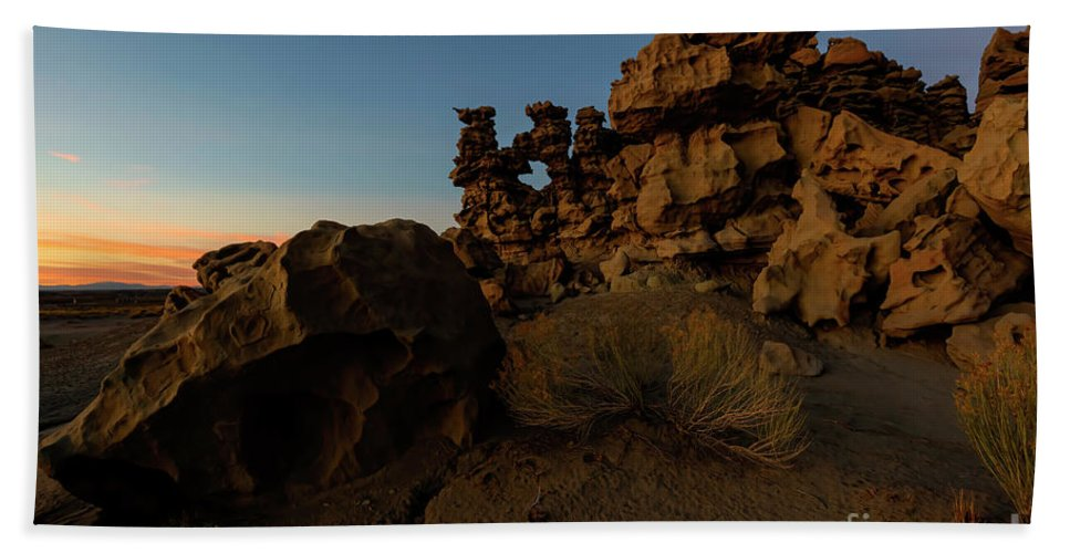 Fantasy Canyon Bath Towel featuring the photograph Shaped by the Elements by Mike Dawson