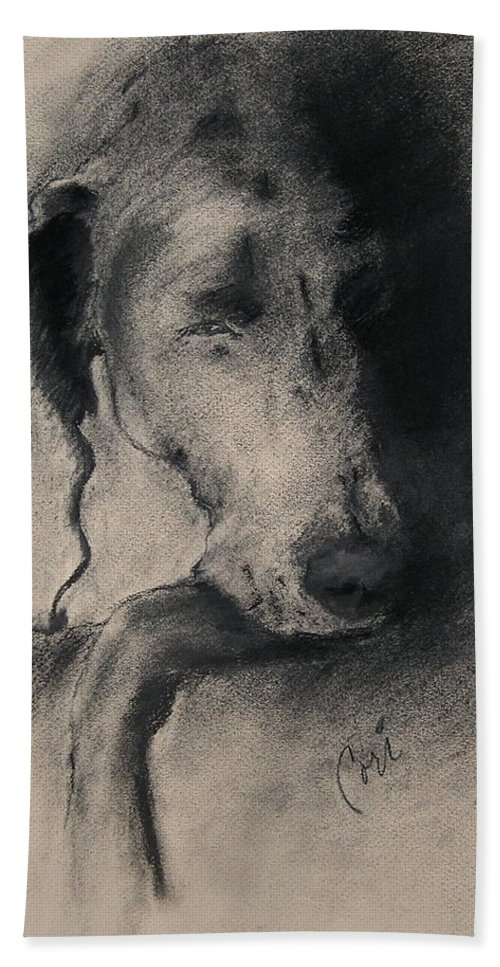 Weimaraner Bath Towel featuring the drawing Silhouette by Cori Solomon