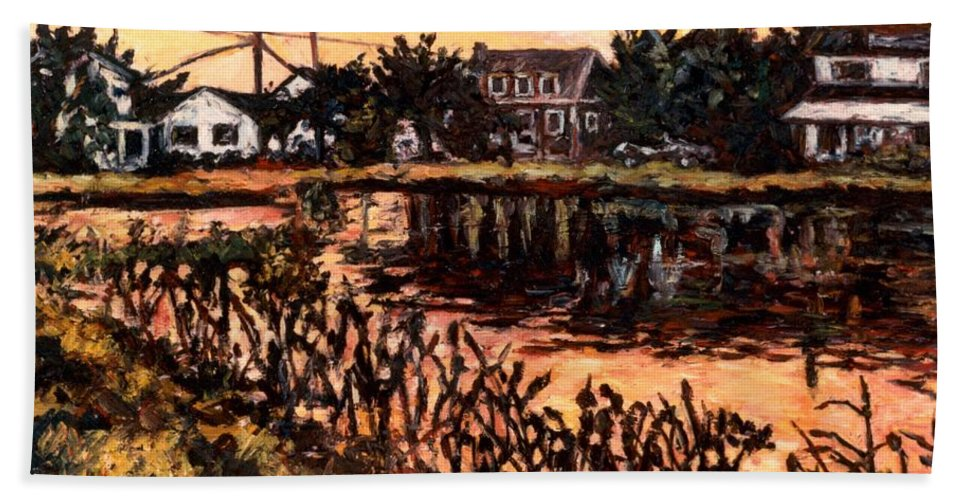 Landscape Hand Towel featuring the painting Silver Lake at Rehoboth Beach by Kendall Kessler