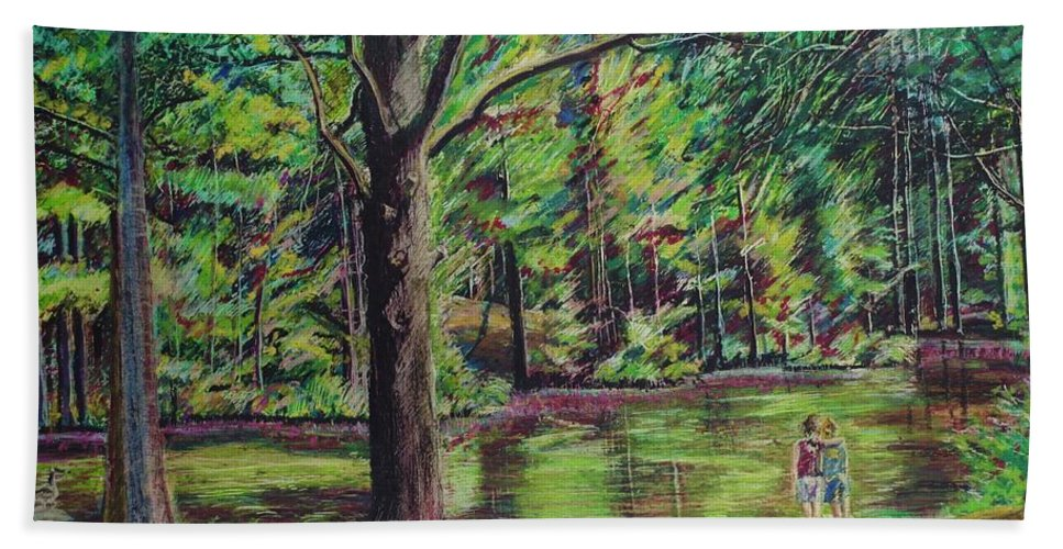 Family Hand Towel featuring the pastel Sisters At Wason Pond by Sean Connolly