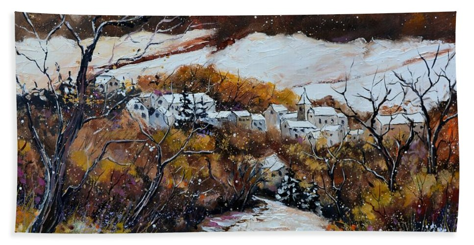 Landscape Bath Sheet featuring the painting Snow in October by Pol Ledent