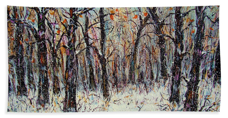 Landscape Bath Towel featuring the painting Snowing In The Forest by Natalie Holland