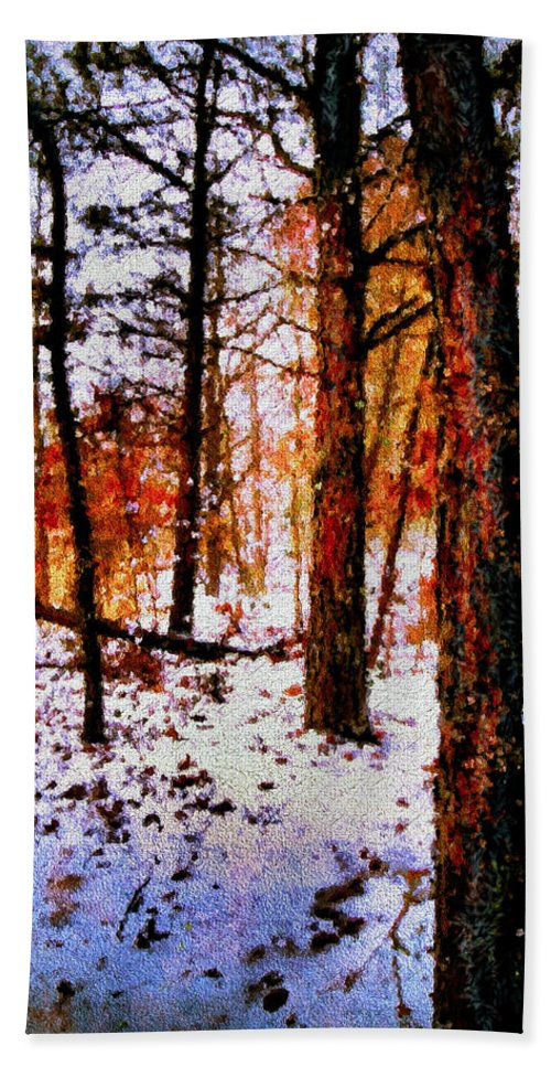 Autumn Bath Sheet featuring the mixed media Snowy Autumn by Natalie Holland