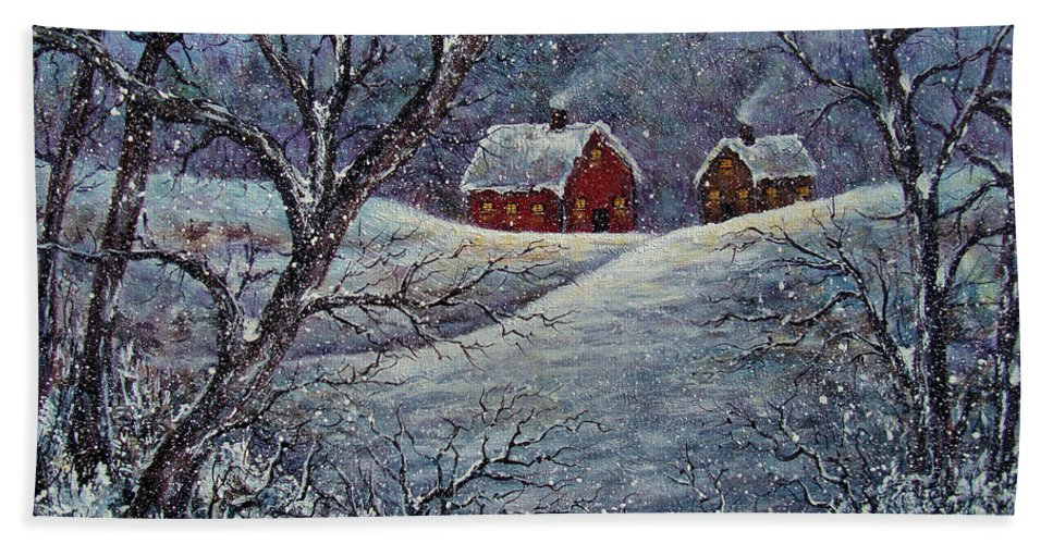 Landscape Bath Sheet featuring the painting Snowy Day by Natalie Holland