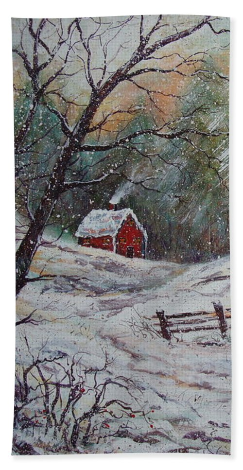 Landscape Bath Sheet featuring the painting Snowy Walk. by Natalie Holland