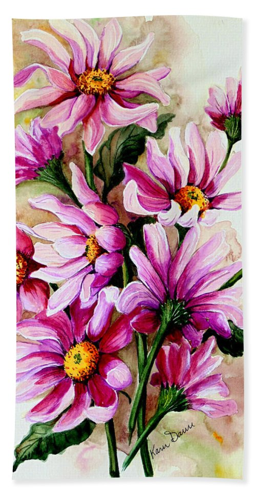 Pink Daisy Floral Painting Flower Painting Botanical Painting Bloom Painting Greeting Card Painting Hand Towel featuring the painting So Pink by Karin Dawn Kelshall- Best