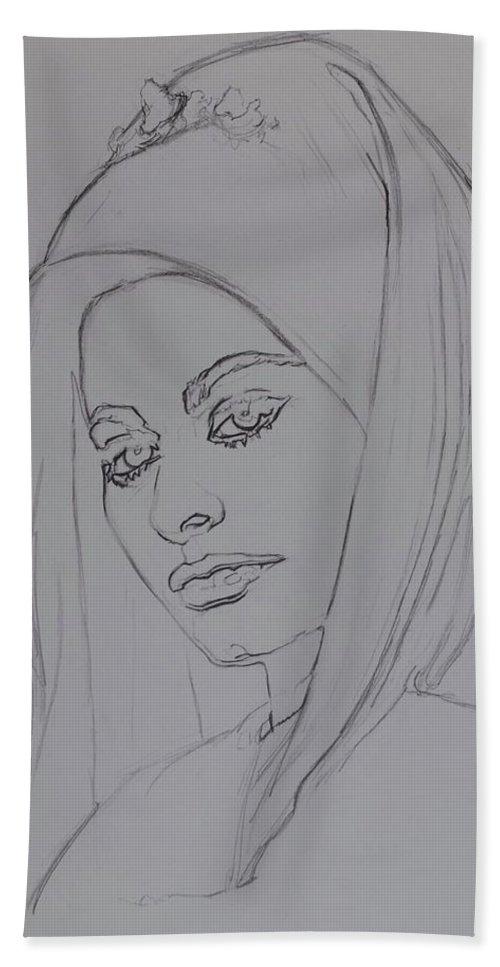 Woman Bath Sheet featuring the drawing Sophia Loren In Headdress by Sean Connolly