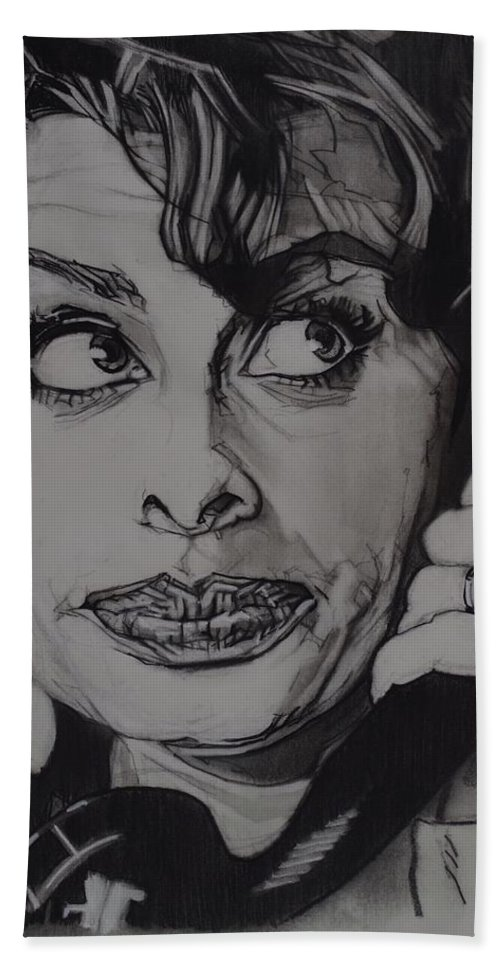 Charcoal On Paper Bath Towel featuring the drawing Sophia Loren Telephones by Sean Connolly