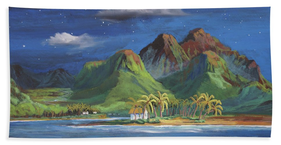 Hawaii Bath Towel featuring the painting Splendor in the Moonlight by Heather Coen