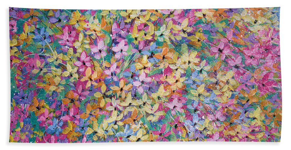 Flowers Bath Sheet featuring the painting Spring floral bouquet. by Natalie Holland