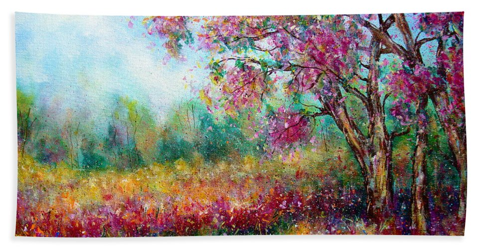 Landscape Bath Sheet featuring the painting Spring by Natalie Holland