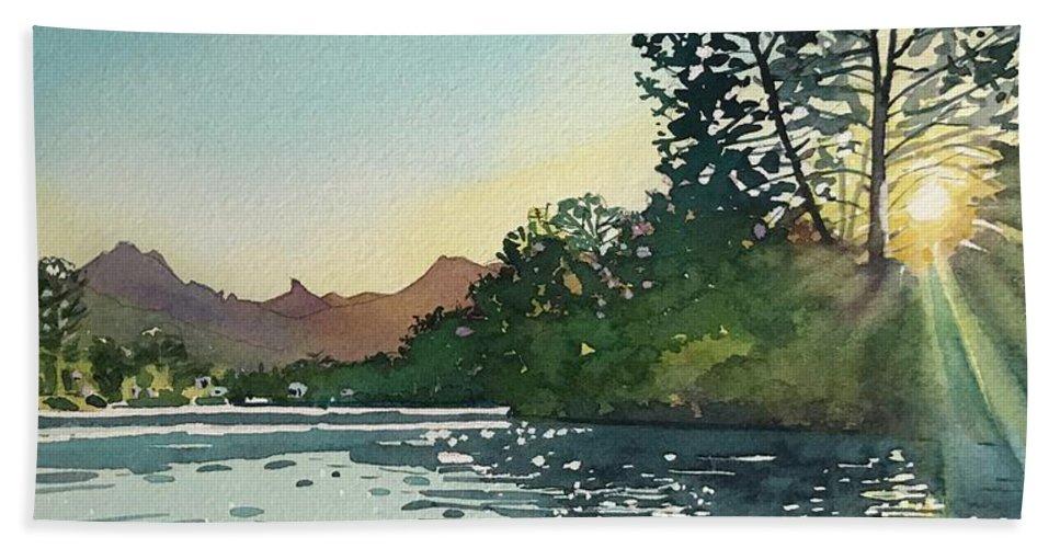 Malibou Lake Bath Towel featuring the painting Spring sunshine Malibou lake by Luisa Millicent