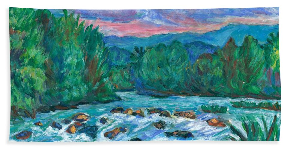 Landscape Bath Towel featuring the painting Stepping Stones on the New River by Kendall Kessler