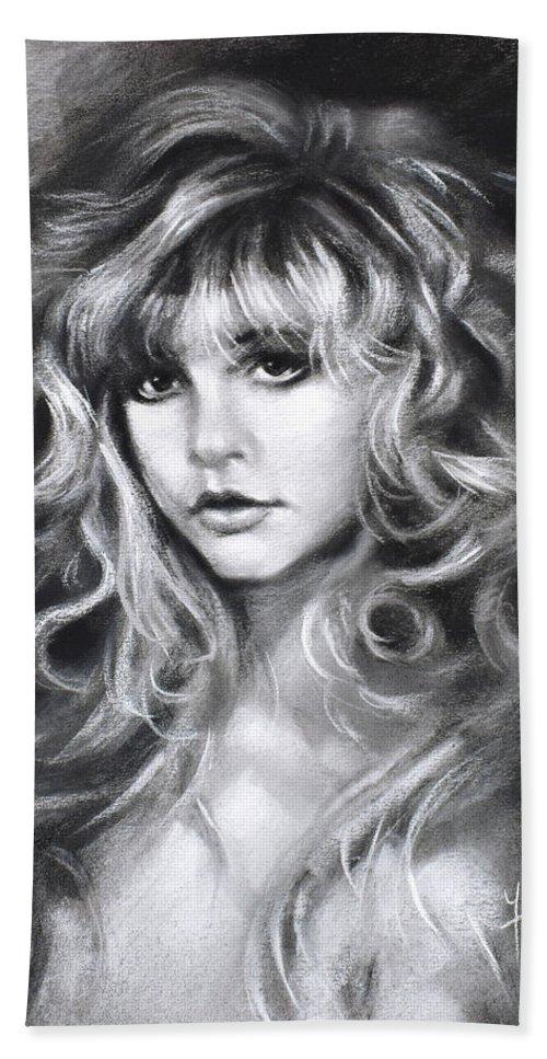 Stevie Nicks Bath Towel featuring the drawing Stevie Nicks by Ylli Haruni