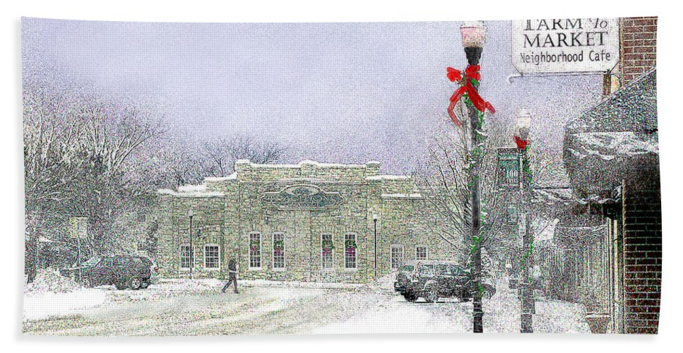 Snow Scene Bath Sheet featuring the photograph Strang Car Barn in Winter by Steve Karol