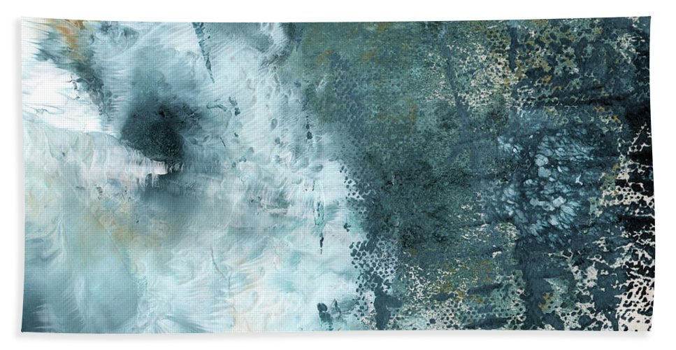 Abstract Hand Towel featuring the painting Summer Storm- Abstract Art by Linda Woods by Linda Woods
