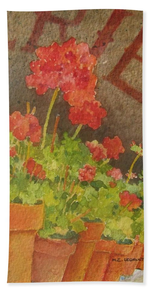 Geraniums Hand Towel featuring the painting Summers End by Mary Ellen Mueller Legault